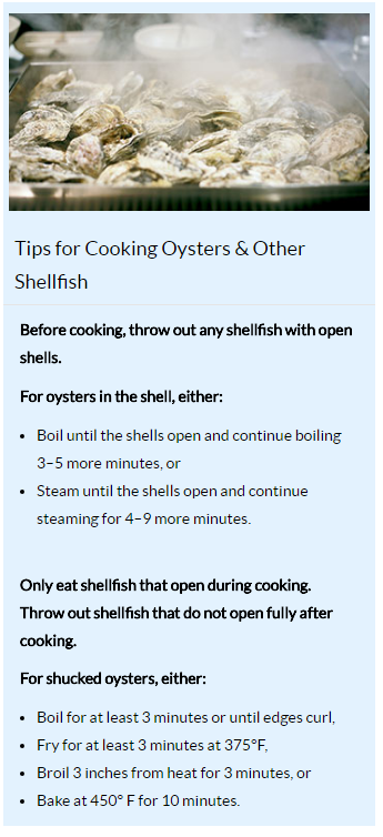 This is information created by the CDC that gives tips for cooking oysters and other shellfish.